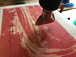 Sequoia wood panel magenta heat gun