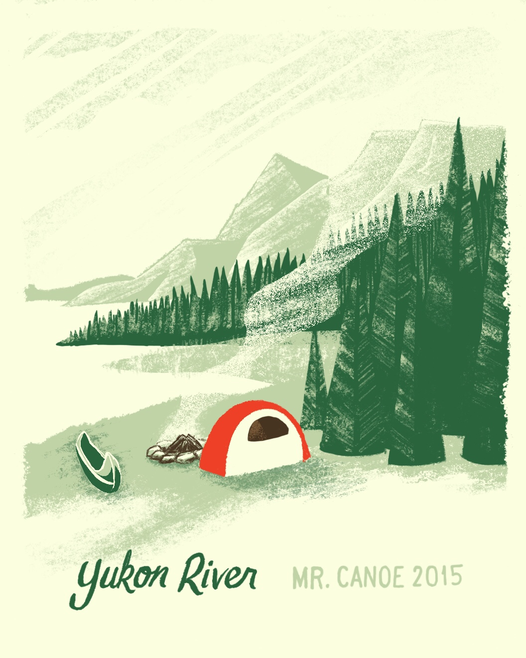 Yukon River canoe trip illustration