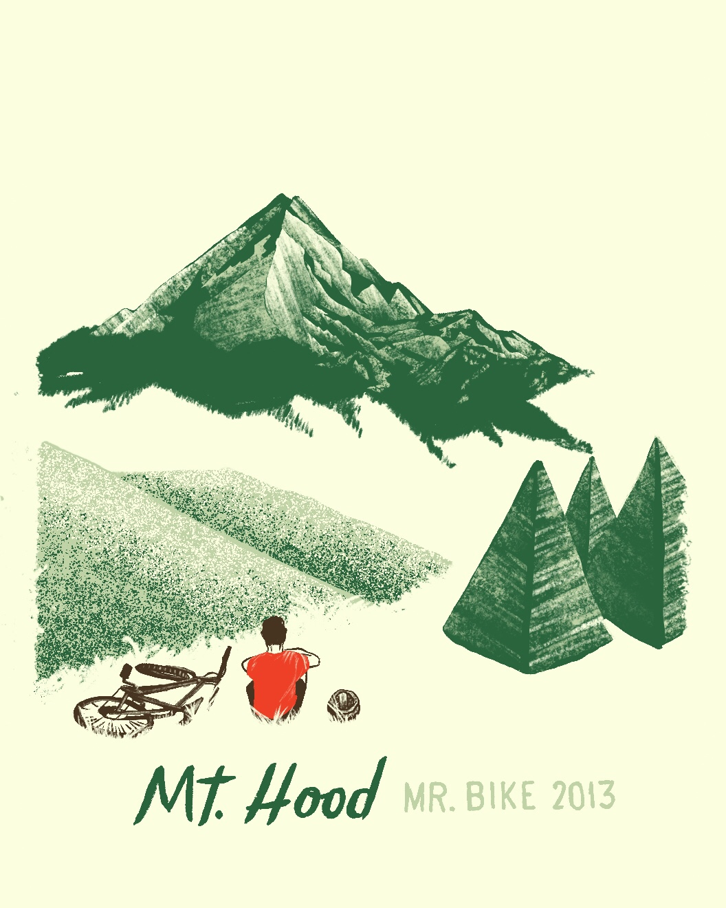 Mount Hood biking trip illustration