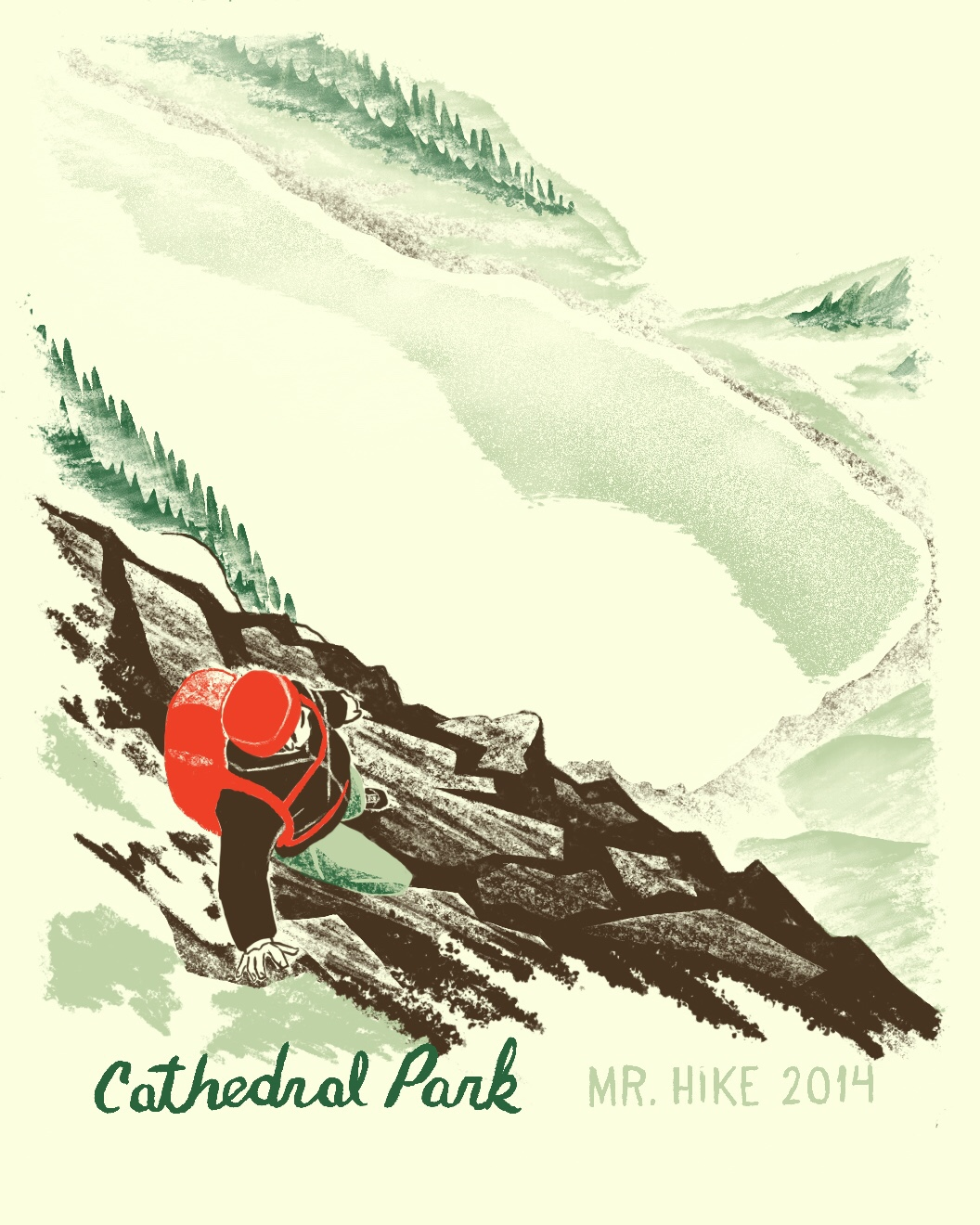 Cathedral Park hiking trip illustration